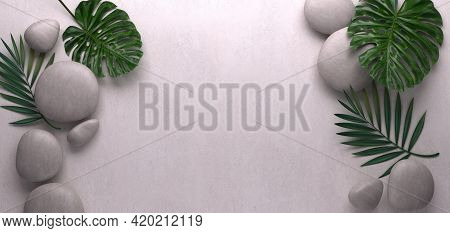 Grey Spa Background, Palm Leaves And Stones, Top View, 3d Rendering