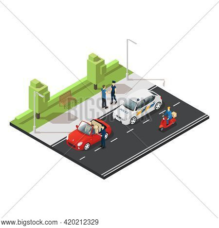 Colorful Isometric Traffic Concept With Police Officers Stopping Violator On Red Cabriolet And Postm