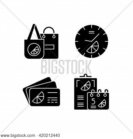Company Branding Materials Black Glyph Icons Set On White Space. Advertising Company Or Business Wit