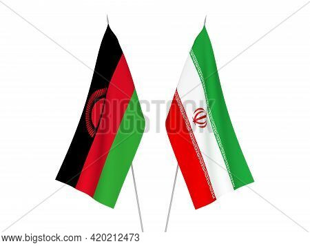 National Fabric Flags Of Iran And Malawi Isolated On White Background. 3d Rendering Illustration.