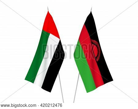 National Fabric Flags Of United Arab Emirates And Malawi Isolated On White Background. 3d Rendering
