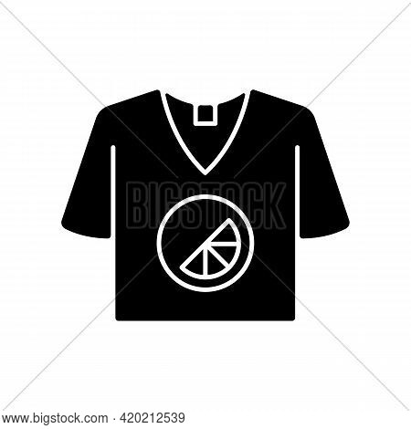 Branded T Shirt Black Glyph Icon. Creating Own Merch To Advertise Company. Marketing Company Plan. D