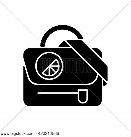 Branded Shoulder Bag Black Glyph Icon. Stylish Accessory To Carry Many Things. Beautiful Design Of C