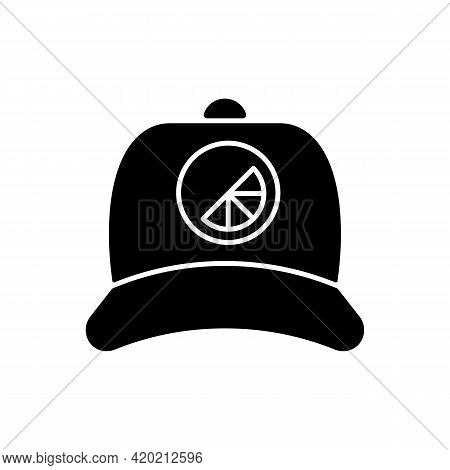 Branded Cap Black Glyph Icon. Stylish Soft And Flat Headgear. Creating Unique Accessories For Everyd