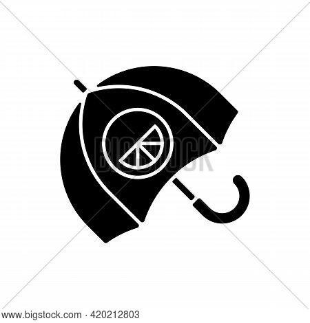 Branded Umbrella Black Glyph Icon. Stylish Rain Protection Item. Designer Creating Modern Styled Acc