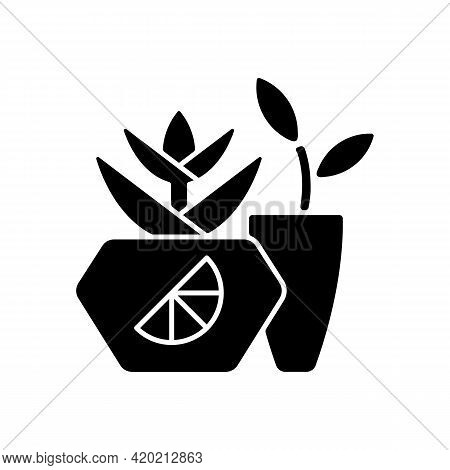 Branded Plant Pot Black Glyph Icon. Unique Place For Growing Plants And Flowers. Designers Create Fa