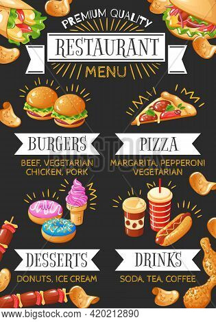 Colorful Menu Of Fast Food Restaurant With Burgers Pizza Desserts And Drinks On Black Background Fla