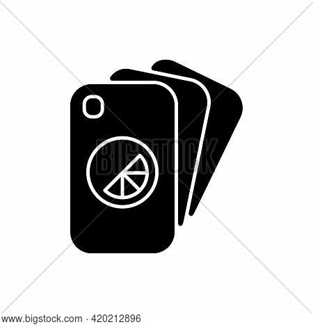 Branded Phone Case Black Glyph Icon. Special Phone Protection Accessories. Uniquely Created Item To