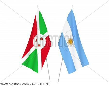 National Fabric Flags Of Argentina And Burundi Isolated On White Background. 3d Rendering Illustrati