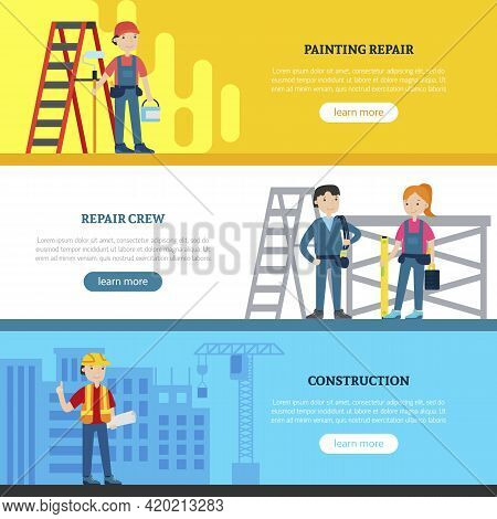 Construction Team Horizontal Banners With Painter Repair Workers Architect And Professional Equipmen