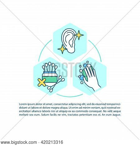 Ear Cleaning And Irrigation Concept Line Icons With Text. Ppt Page Vector Template With Copy Space.