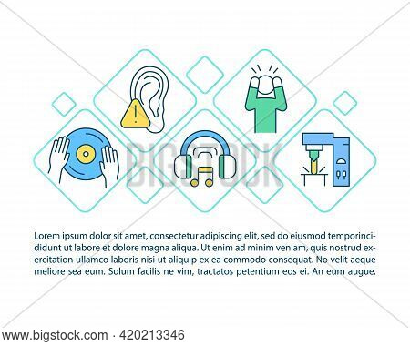 Hearing Protection Concept Line Icons With Text. Ppt Page Vector Template With Copy Space. Brochure,