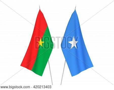 National Fabric Flags Of Somalia And Burkina Faso Isolated On White Background. 3d Rendering Illustr