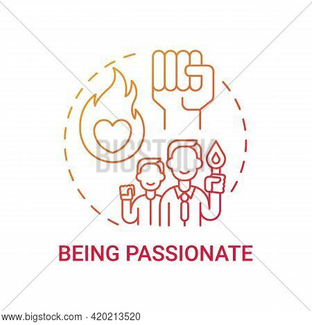 Being Passionate Concept Icon. Corporate Value Idea Thin Line Illustration. Emotionally Uplifting Ac