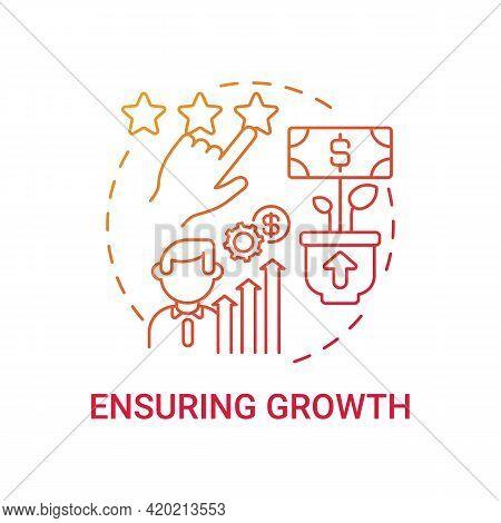 Ensuring Growth Concept Icon. Corporate Core Value Idea Thin Line Illustration. High-potential Emplo