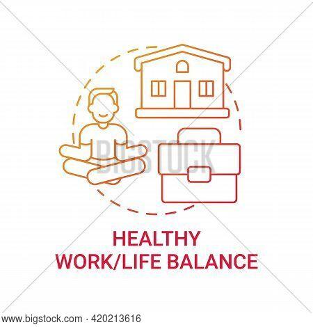 Healthy Work-life Balance Concept Icon. Personal Value Idea Thin Line Illustration. Avoiding Workpla
