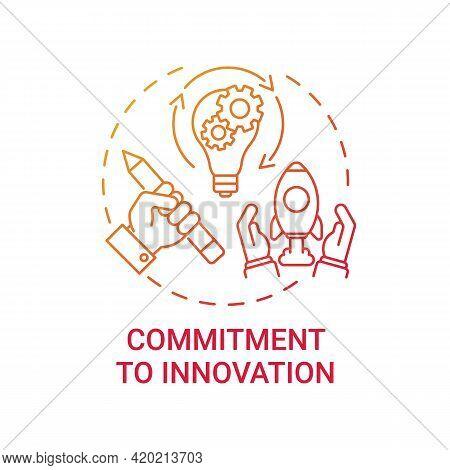 Commitment To Innovation Concept Icon. Original Idea Development Idea Thin Line Illustration. Creati