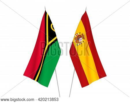 National Fabric Flags Of Spain And Republic Of Vanuatu Isolated On White Background. 3d Rendering Il