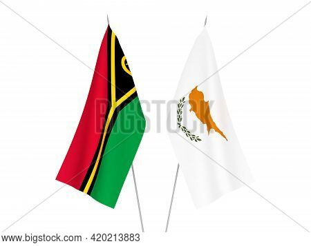 National Fabric Flags Of Republic Of Vanuatu And Cyprus Isolated On White Background. 3d Rendering I