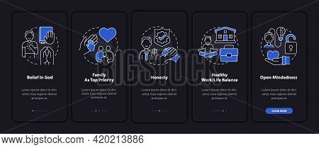 Individual Principles Onboarding Mobile App Page Screen With Concepts. Family As Priority Walkthroug