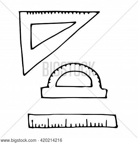 Different Right Angle Rulers And Protractor, Hand Drawn, Back To School, Simple Flat Vector Illustra