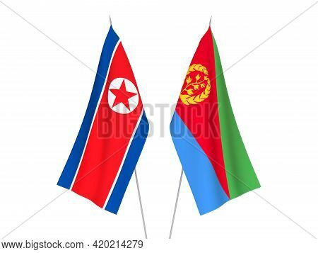 National Fabric Flags Of Eritrea And North Korea Isolated On White Background. 3d Rendering Illustra