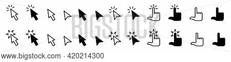 Pointer Cursor сomputer Mouse Icon. Clicking Cursor, Pointing Hand Clicks Icons. Click Cursor. Vecto