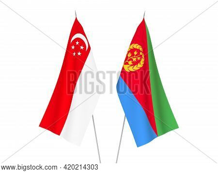 National Fabric Flags Of Eritrea And Singapore Isolated On White Background. 3d Rendering Illustrati