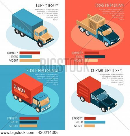 Colorful Isometric 2x2 Design Concept With Different Delivery Vehicles Their Capacity Speed And Weig