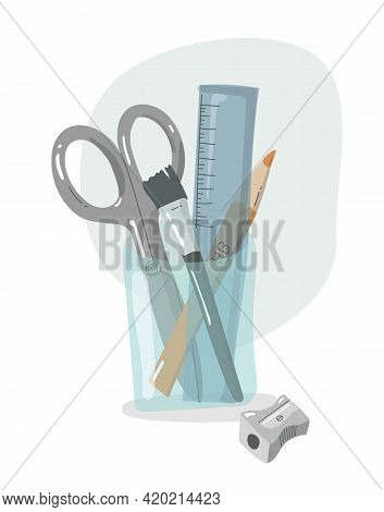 Organizer Office And School Supplies. Desk Organizer For Utilities. Flat Design. Writing Equipment.
