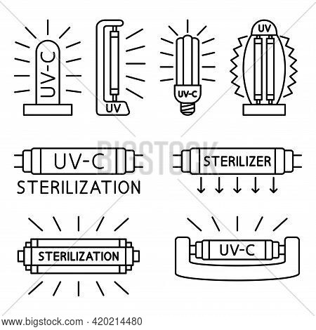 Ultraviolet, Disinfection Lamp. Information Signs For Packaging Markings With Uv Devices Inside. Set