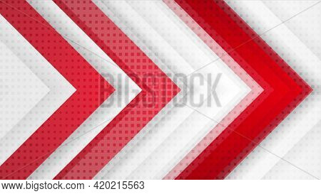 Red and grey hi-tech corporate background with arrows