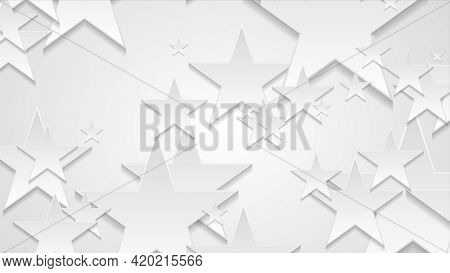 Grey and white paper stars abstract corporate background