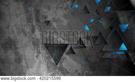 Tech blue triangles on abstract grunge background