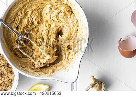 Fresh mixture for homemade lemon cake recipe
