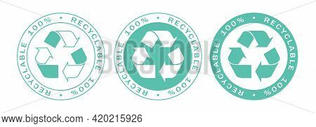 Recyclable On 100% Label Stamps Icon Set. Recyclable And Biodegradable Packaging Logo Signs Isolated