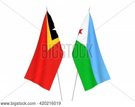 National Fabric Flags Of East Timor And Republic Of Djibouti Isolated On White Background. 3d Render