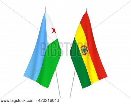 National Fabric Flags Of Bolivia And Republic Of Djibouti Isolated On White Background. 3d Rendering