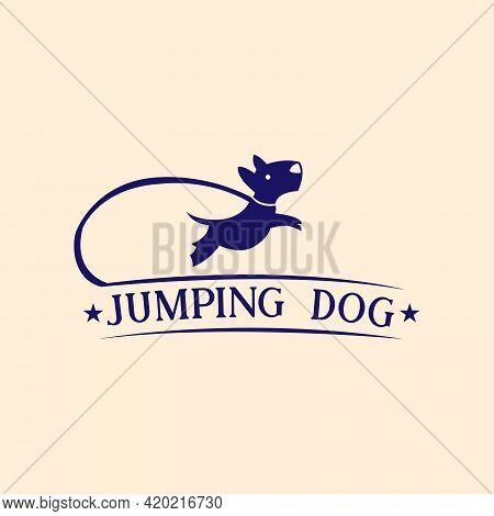 Jumping Dog Design Logo Vector. Jumping Dog Illustration Vector