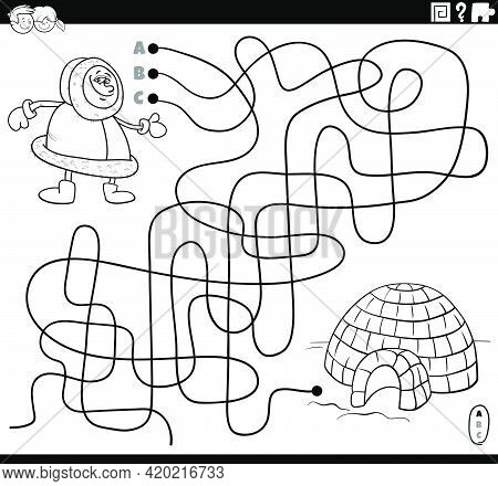 Black And White Cartoon Illustration Of Lines Maze Puzzle Game With Eskimo Character And Igloo Color