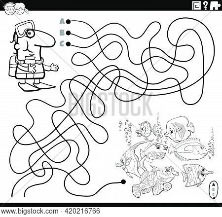 Black And White Cartoon Illustration Of Lines Maze Puzzle Game With Scuba Diver Character And Tropic