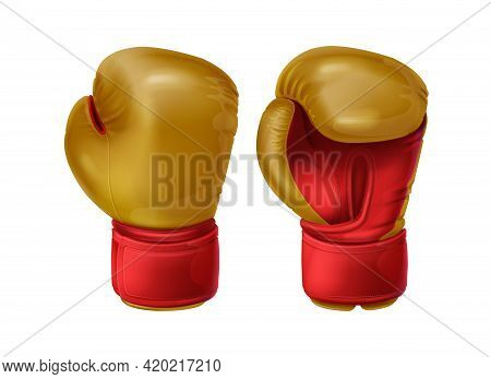 Realistic Red Pair Leather Boxing Gloves. Sport Equipment To Protecting Hands In Fist Fight. Boxer S