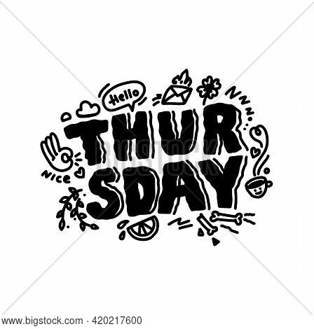 Thursday Doodle Inspiration Quote. Sketch Cart On Calendar, Cafe, Promotion, Banner, Email Newslette