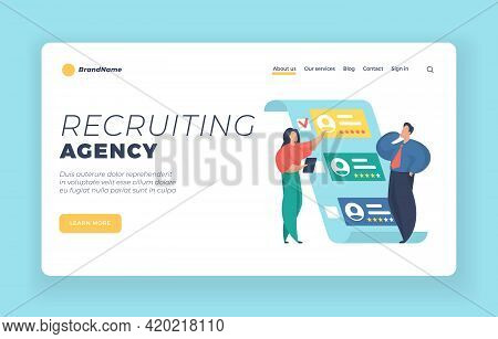 Recruiting Agency Landing Page Website Banner Template. Hr Managers Choosing Best Candidate. Searchi
