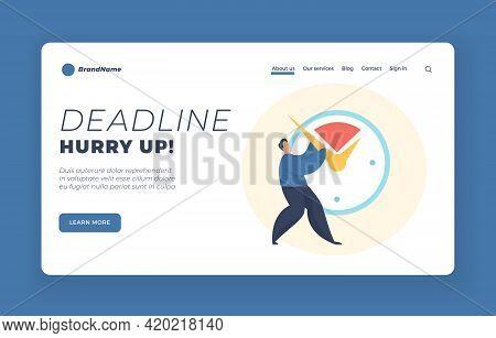 Deadline Landing Page Template Notivational Web Banner. Deadline Concept Illustration. Male Cartoon