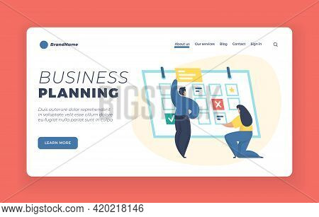 Business Planning Landing Page Website Banner Template. Time Management, Timetable. Male And Female