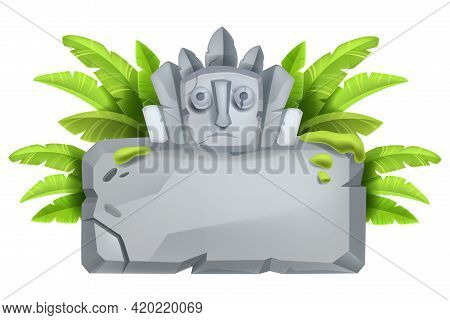 Stone Sign Board, Vector Game Cartoon Rock, Tablet, Jungle Boulder Frame, Banana Leaves, Maya Totem.