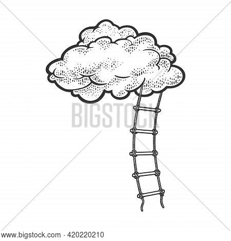 Rope Ladder To Cloud Sketch Engraving Vector Illustration. Stairs To Heaven Metaphor. T-shirt Appare