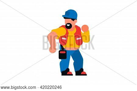 The Dancing Worker. Smiling, Happy Builder. Vector Illustration Isolated On White Background