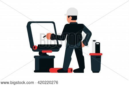 Architect Drawing The Project. Working On The Drawing Of The Building. Vector Illustration Isolated